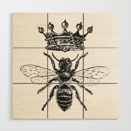 Queen Bee | Black and White Wood Wall Art