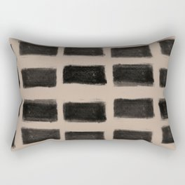 Brush Strokes Horizontal Lines Black on Nude Rectangular Pillow