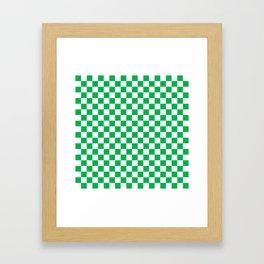 Green Checkerboard Pattern Framed Art Print