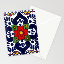 talavera mexican tile in blu Stationery Cards