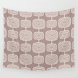 Mid Century Modern Atomic Rings Pattern Beige Wall Tapestry