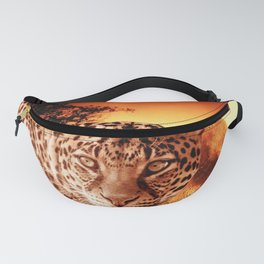 Leopard and Red Moon Fanny Pack