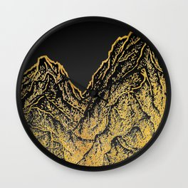 """遠望 series -""""Gold Valley"""" - Linocut Wall Clock"""