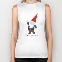 gnome Biker Tanks featuring Gnome Love by Ink Tree Press by Erin Rippy