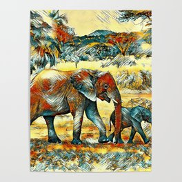 AnimalArt_Elephant_20170902_by_JAMColors Poster