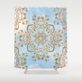 GOLD AND BLUE FLOURISH ORNAMENT MANDALA Shower Curtain