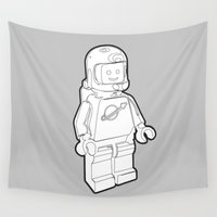spaceman Wall Tapestries featuring Vintage Lego Spaceman Wireframe Minifig by Greg Koenig