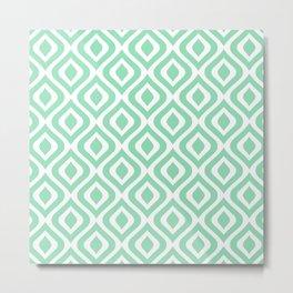 Mid Century Modern Diamond Ogee Pattern 138 Mint Green Metal Print