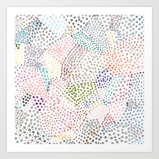 Mermaid Rainbow Dots Colorful Abstract Gems Art Print