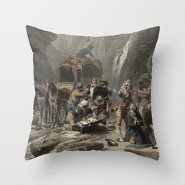 Tourists Far West Scene Canyon - Devil's Path - Stagecoach chromolithograph - Home Decor Wall Engraving Throw Pillow