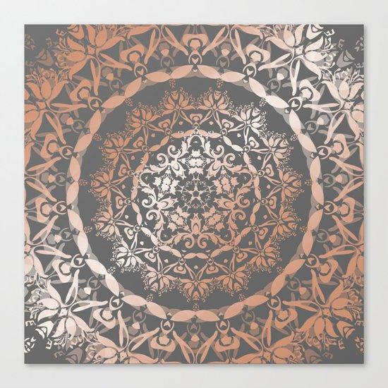 Rose Gold Gray Floral Mandala Canvas Print
