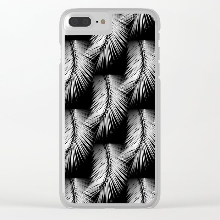 White Palm Leaves On Black Background Decor Society6 Buyart Clear Iphone Case By Pivivikstrm