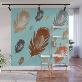 Light Teal Neutral Feathers Wall Mural