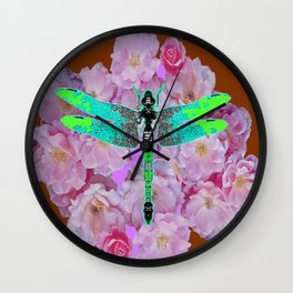 EMERALD DRAGONFLY PINK ROSES COFFEE BROWN Wall Clock