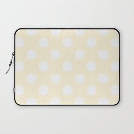 Cornsilk - pink - White Polka Dots - Pois Pattern Laptop Sleeve