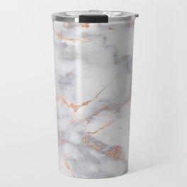 Gray Marble Rosegold  Glitter Pink Metallic Foil Style Travel Mug