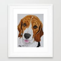 beagle Framed Art Prints featuring Beagle by Megan Cohen