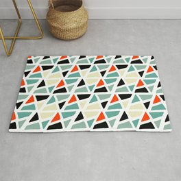 Mid Century Modern Colorful Triangles Pattern Rug