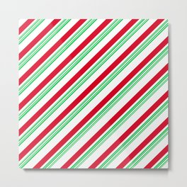 Red and Green Candy Cane Stripes Metal Print