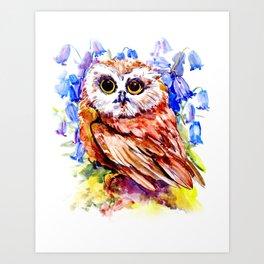 Owl Who Loves Bluebell Flowers, Owl art, Bright colored Owl design Art Print