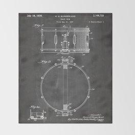 Snare Drum Patent - Drummer Art - Black Chalkboard Throw Blanket