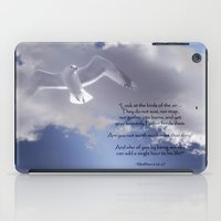 bible verses iPad Cases featuring Seagull with Matthew 6:26-26 Verses by Photos and Images by Corri