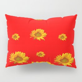 FLOATING GOLDEN YELLOW SUNFLOWERS RED COLOR Pillow Sham