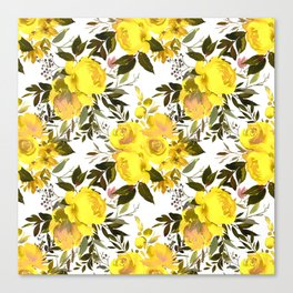 Yellow brown green watercolor hand painted roses Canvas Print