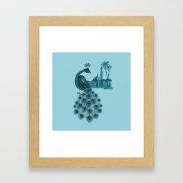 Blue peacock oriental dream Framed Art Print
