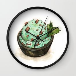 Mint Chocolate Chip Ice Cream Wall Clock
