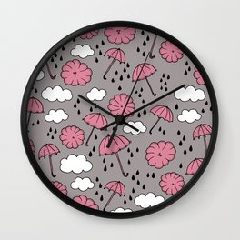 Blue umbrella sky rainy day abstract fall illustration pattern pink Wall Clock