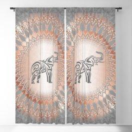 Rose Gold Gray Elephant Mandala Blackout Curtain