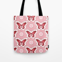 Chinoiseries Porcelain Butterfly Red Tote Bag