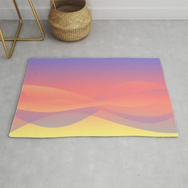 Pastel Gradient Ombre Pink, Purple, Yellow Whimsical Wavy Lines Rug