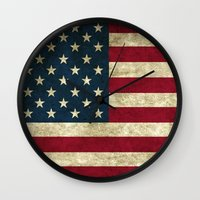 american flag Wall Clocks featuring American Flag by Abbie :)