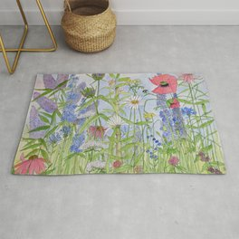 Flowers Alive Watercolor Rug
