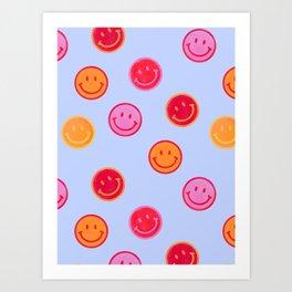 Smiling faces pattern no2 Art Print