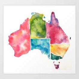 Watercolour Australia Art Print