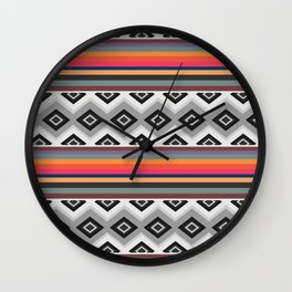 Ethnic and multicolored stripes Wall Clock