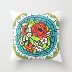 Floral Mosaic Brooch Throw Pillow