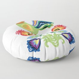 Polish Rooster and flowers Floor Pillow
