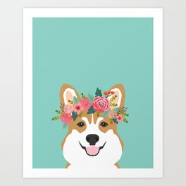 Corgi Portrait - dog with flower crown cute corgi dog art print Art Print