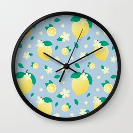 Lemon Flower Pattern // Blue Citrus Fruit Pattern Wall Clock