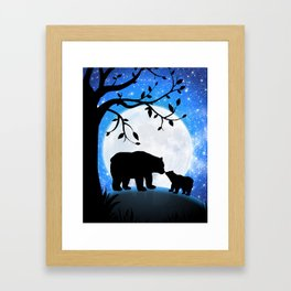 Moon and bears Framed Art Print
