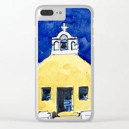 Santorini Yellow Chapel Greece Clear iPhone Case