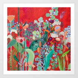 Red floral Jungle Garden Botanical featuring Proteas, Reeds, Eucalyptus, Ferns and Birds of Paradise Art Print