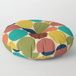 Mod Dots Midcentury Modern Pattern in Mid Mod Turquoise, Orange, Olive, Blue, Mustard, and Beige Floor Pillow