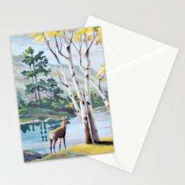 Paint by Numbers Deer Woodland Scene Stationery Cards