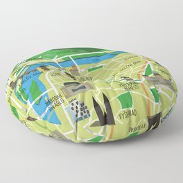 Prague map illustrated Floor Pillow