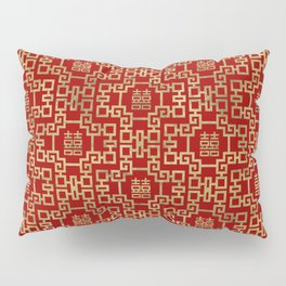 Chinese Pattern Double Happiness Symbol Gold on Red Pillow Sham